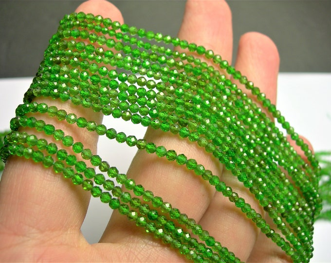 Chrome diopside - 2.5mm faceted round beads - full strand 16 inch - 40 cm - 160 beads - AA Quality - PG70