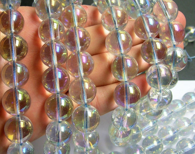 Crystal - round - 16 mm - Light  aqua mystic aurora  - full strand - 25 beads - CRV22