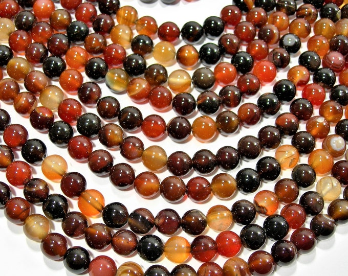 Sardonyx Agate 8mm  round  beads -  full strand - 48 beads per strand - AA quality - Dark sardonyx - RFG1975