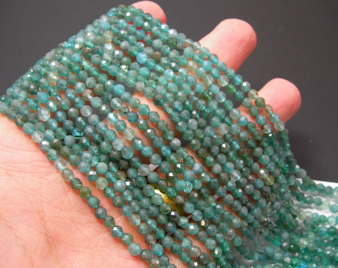 Apatite - 4mm(3.8mm) micro faceted beads - full strand  100 beads - micro faceted Blue Apatite - PG370