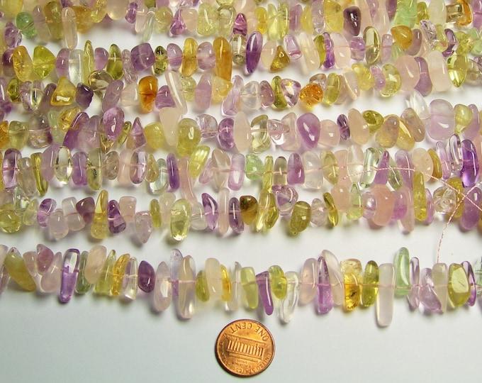 Citrine - amethyst - prehnite - rose quartz - mix quartz gemstone  - bead - full strand - pebble - nugget - PSC59