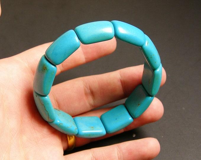 Howlite turquoise  11 pcs double holed beads
