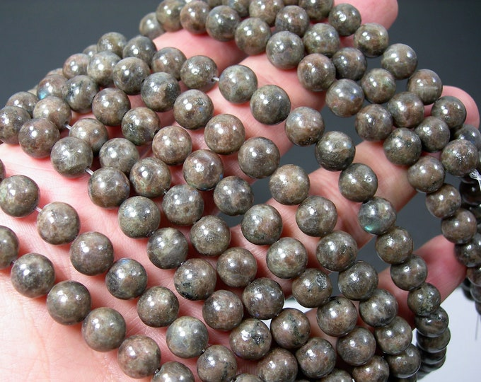 Feldspar - 8mm round beads - full strand - 46 beads - Brown Rainbow Feldspar -  RFG2185