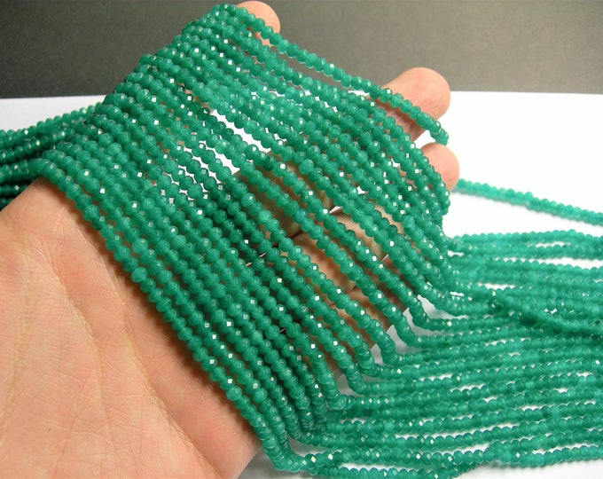 Emerald green Jade 3mmx4mm faceted rondelle beads - full strand - 123 beads - Color jade - JDC33
