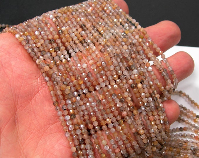 Mix Moonstone - 2.5mm micro faceted round beads -  full strand - Grey beige mix moonstone - 154 beads - PG335