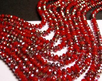 Crystal faceted rondelle - 100 beads - 6 mm - AA quality - sparkle coral red - full strand - CBFB4