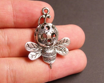 2 Bee charms -  2 pcs - 3D bee charms silver tone charms - ASA53