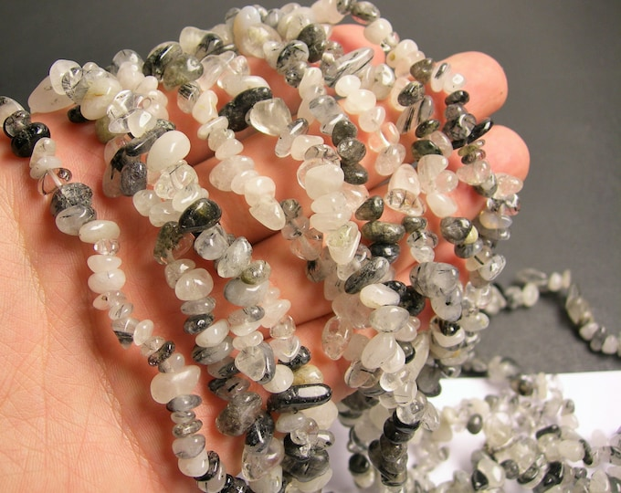 Tourmalinated quartz - 36 inch strand  chip stone - PSC13