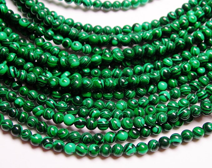 Malachite - 4 mm round beads -1 full strand - 99 beads - Reconstituted