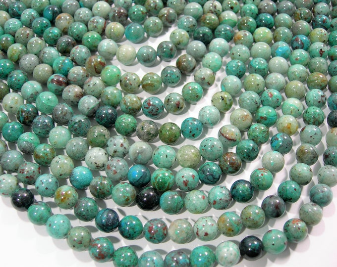 Chrysocolla - 8 mm round beads - 1 full strand - 48 beads  - Natural Chrysocolla - RFG1827