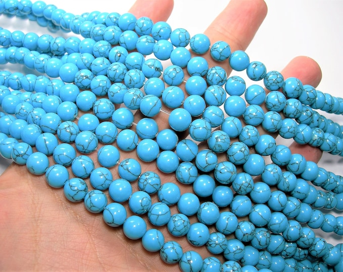 Turquoise  - 8mm beads -  full strand - 49 pcs - A Quality - Turquoise Magnesite - Wholesale deal - RFG1681
