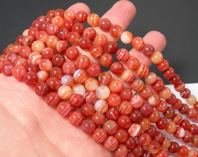 Carnelian Banded Agate - 8mm round beads -  full strand - 48 beads per strand - RFG2133