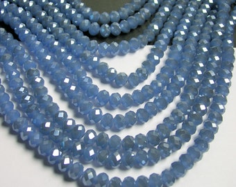 Crystal faceted rondelle - 72 pcs - 8 mm - A quality - full strand -  blue ab - GSH50