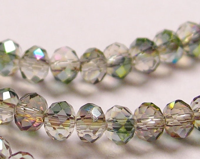 Crystal faceted rondelle -  100 pcs - full strand - 3.5 mm - AA quality - sparkle mix -clear - green - magenta - SERCS7