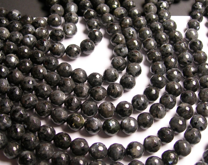 Larvikite - 10mm faceted round beads -1 full strand - 39 beads - AA Quality - black labradorite - RFG989