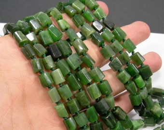 Nephrite jade  -  natural tube faceted chunk  - 37 beads - full strand - RFG2068