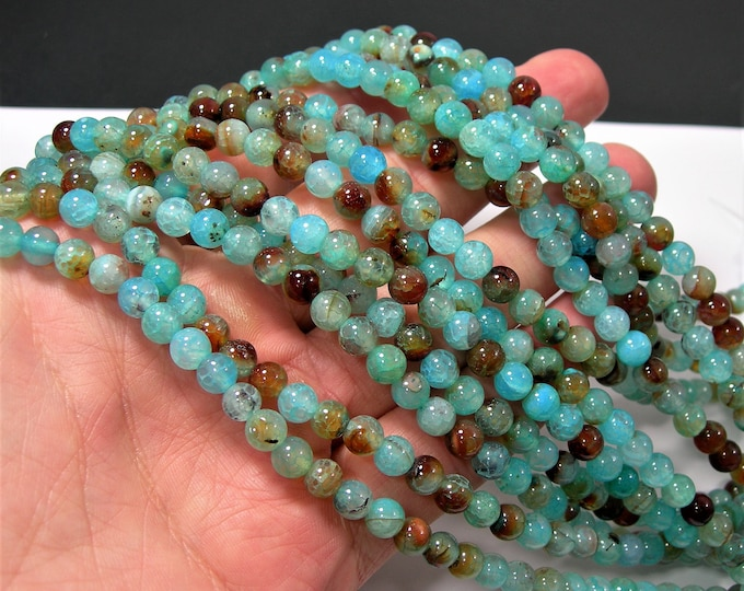 Blue crackled agate - 6mm(5.9mm) round beads - full strand - 62 beads - Aqua blue fire crackle agate - RFG2127
