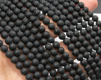 Black Onyx - matte -  6 mm faceted round beads - full strand - 65  beads - AA quality - RFG1758