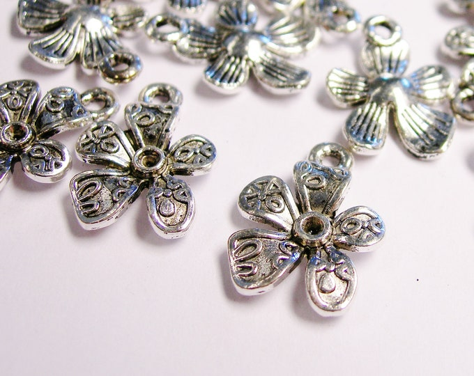Flower Silver color charm hypoallergenic- 12 pcs - ZAS 104