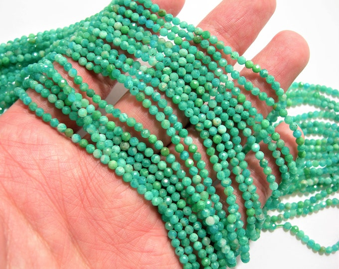 Amazonite - 3mm faceted round beads - 1 full strand - 138 beads - 16 inch - 40 cm - Amazonite gemstone - Micro Faceted - AA Quality - PG102