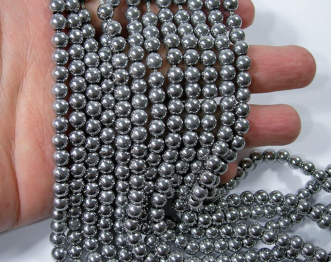 Silver Hematite - 6 mm round beads - full strand - 70 beads - AA quality - 1.2mm hole - RFG1631