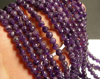 Amethyst - 6mm faceted round  - full strand - 66 beads - A Quality - RFG90