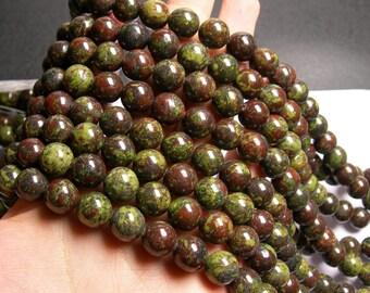 Dragons blood jasper - 12mm round beads -  full strand - 33 beads  - RFG919