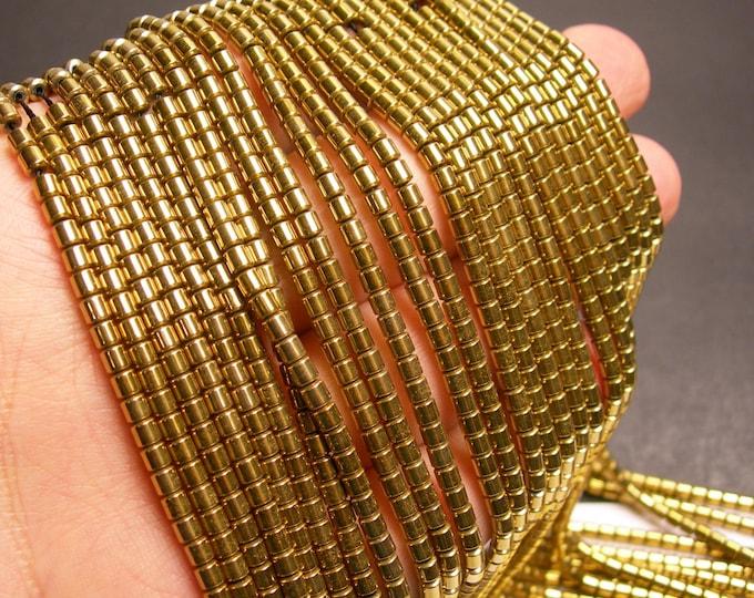 Hematite gold - 3x3mm tube beads - full strand - 133 beads - AA quality -  - PHG143
