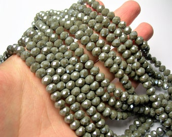Crystal faceted rondelle - 70 pcs - 8 mm - AA quality - full strand - Grey mud - GSH78
