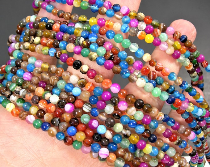 Multi Banded Agate - 4mm  round beads - full strand - multi color agate - 90 beads -  RFG1841