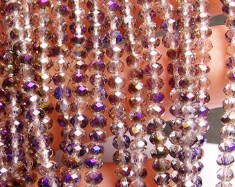 Crystal faceted rondelle -  100 pcs - full strand - 3.5 mm - AA quality - sparkle purple