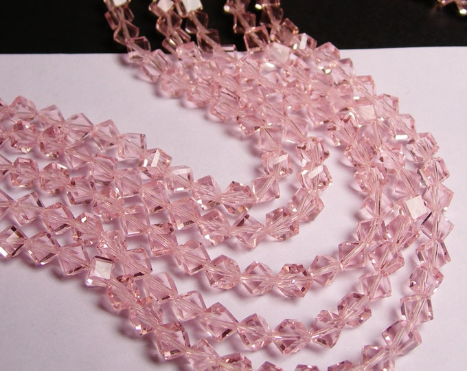 Crystal faceted cube  -  70 pcs - full  strand - 6 mm - A quality - vivid pink - corner drill