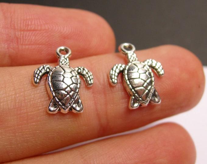 24 turtle charms -  24 pcs - Tibetan silver tone charms - ASA128