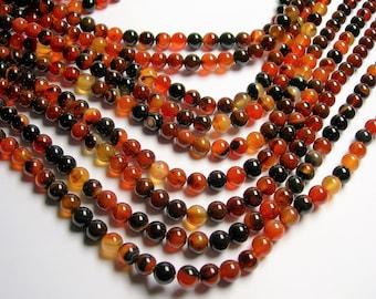 Sardonyx Agate 8mm  round  beads - 1 full strand - 49 beads per strand - AA quality - RFG1367