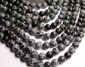 Snowflake Obsidian 12 mm -  33 beads per strand - full strand - A quality