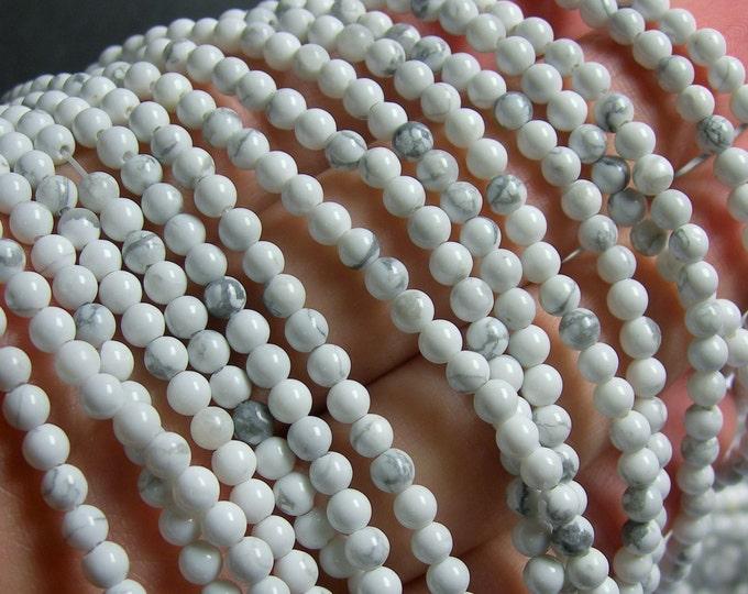 White Howlite turquoise - 4mm  round beads -1 full strand - 100 beads - RFG589