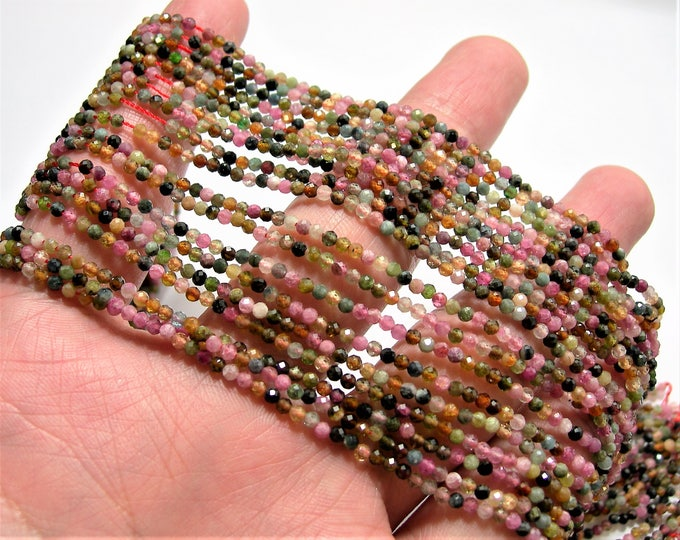 Tourmaline - 2mm(2.2mm) faceted round beads - 1 full strand - 176 beads - multi color tourmaline - AA Quality - PG84