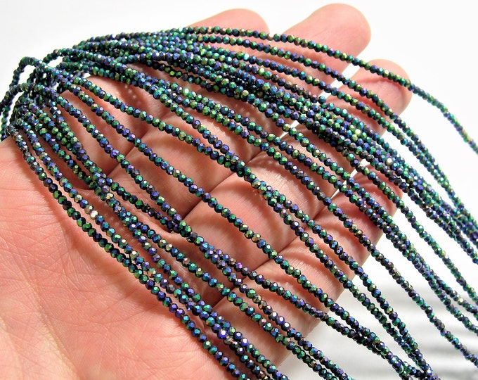 Crystal - rondelle  faceted 1mm x  2mm beads - 198 beads - Rainbow metallic ab - full strand - VSC18