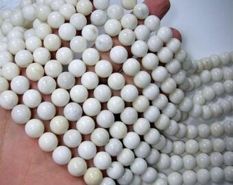 White Jade - 10 mm round beads - full strand - 41 beads - Taiwan white Jade  - RFG1623