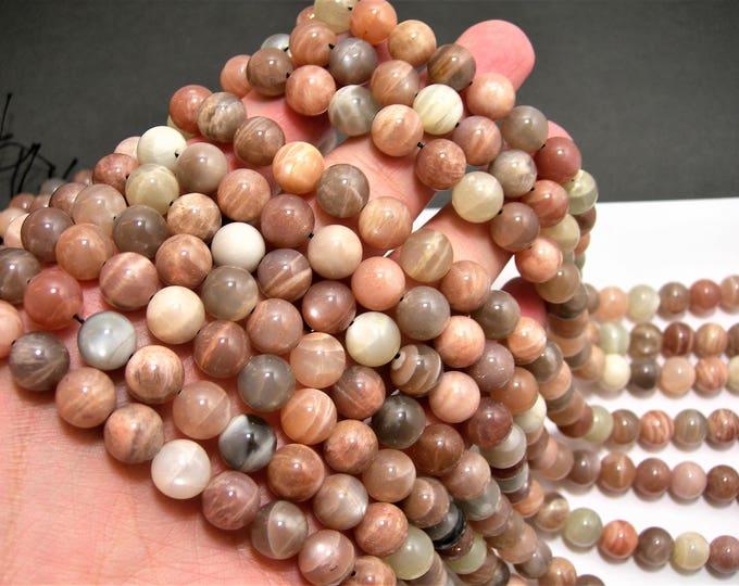 Mix Moonstone - 10mm  round beads - full strand 40 beads - Grey Peach Cream mix moonstone - RFG1499