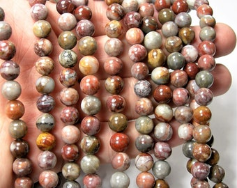 Crazy Lace Agate - 8mm round -  full strand - 49 beads - mix red crazy lace agate - RFG1611
