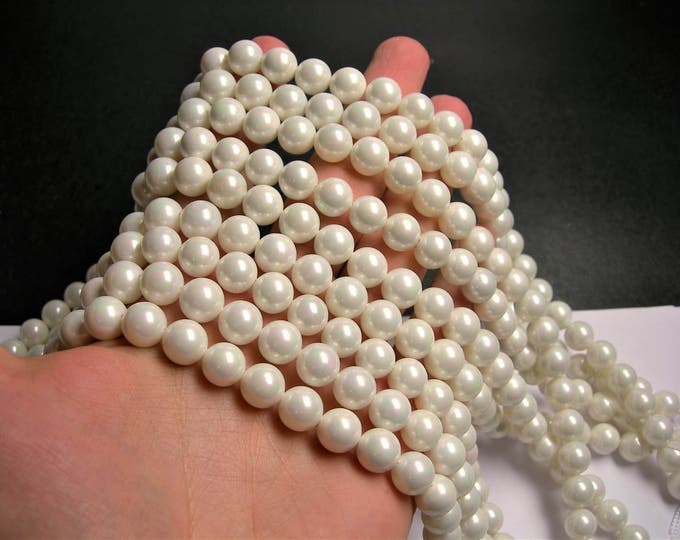 Pearl 10 mm round  lustruous white Pearl ab finsih  1 full strand  40 beads - SPT43 - Shell pearl
