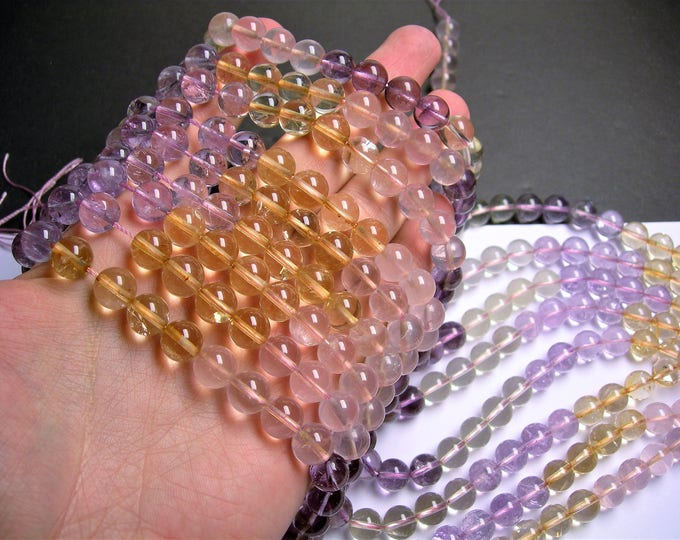 Citrine - amethyst - lemon quartz  - rose quartz - mix quartz gemstone - 10 mm round beads -  40 beads - RFG1414