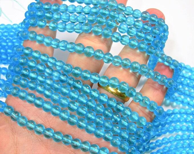 Blue sea glass - 67 pcs - 6mm - full strand - RFG1847