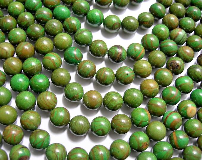 Green Wood Jasper - 10 mm round beads -1 full strand - 40 beads - Green Serpeggiante - RFG1567