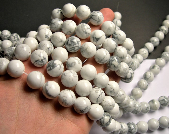 White Howlite turquoise - 14 mm round beads -1 full strand - 28 beads - RFG1320