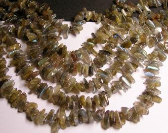 Labradotite gemstone - bead - full strand - stick - chip stone - A quality - NRG65