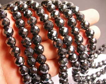 Hematite - 10mm faceted big cut beads - full strand - 43 beads - AA quality - CHG19