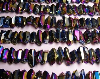 Quartz mystic aura Rainbow crystal points chunk -  middle drilled - Full strand - 36 pcs - CQC5