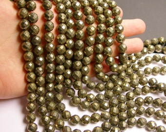 Pyrite - 10 mm faceted round beads -1 full strand - 40 beads